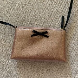 KATE SPADE rose gold purse w black long strap